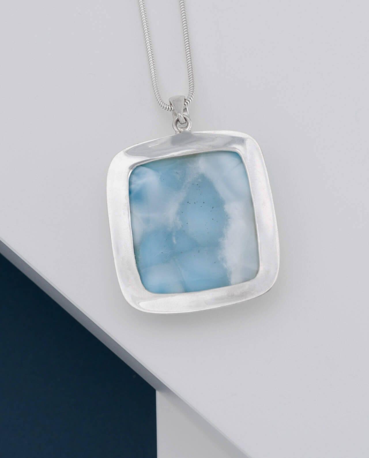 CONLIGHT Premium Beste Qualität Larimar Silber Anhaenger