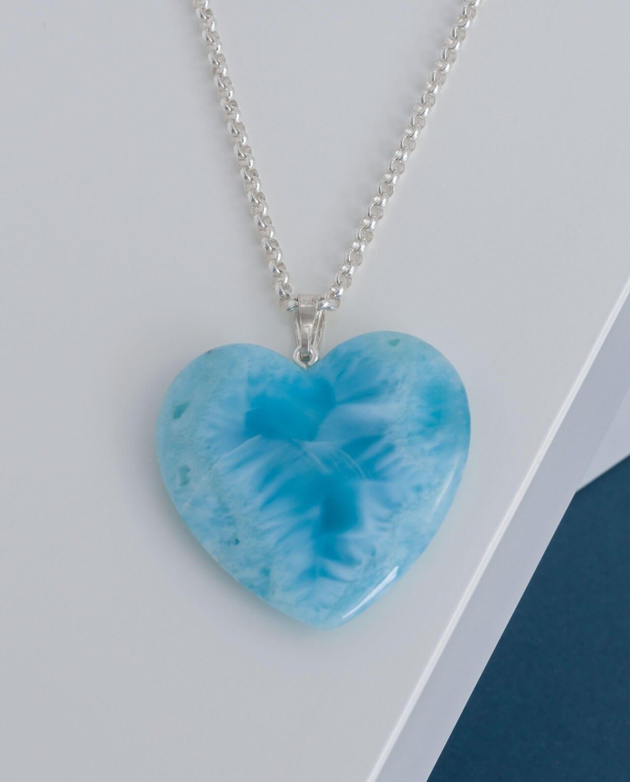 CONLIGHT Larimar Herz Anhaenger Silber Premium