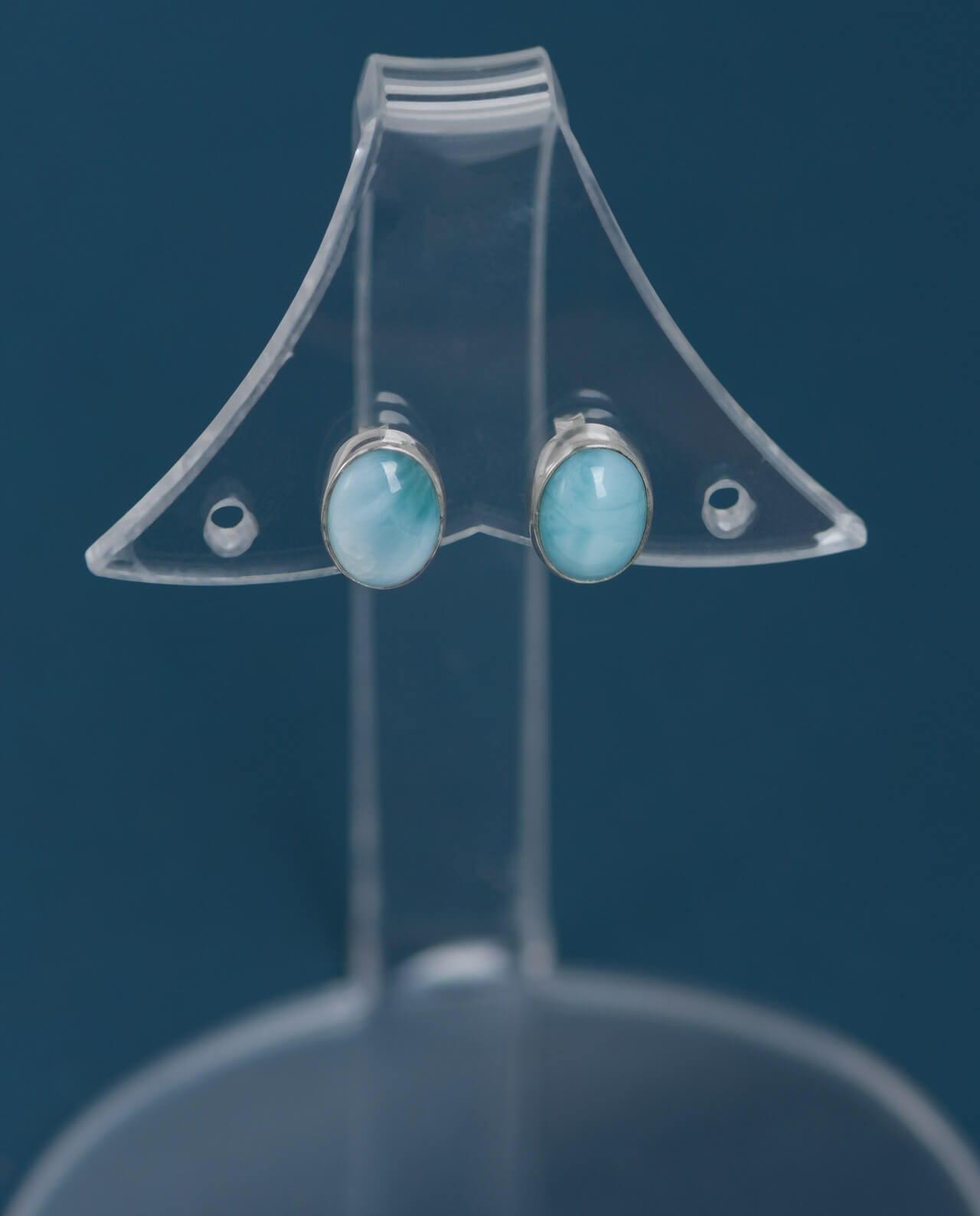 CONLIGHT Larimar Ohrstecker Silber oval