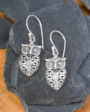 CONLIGHT Silber Ohrhänger Eule