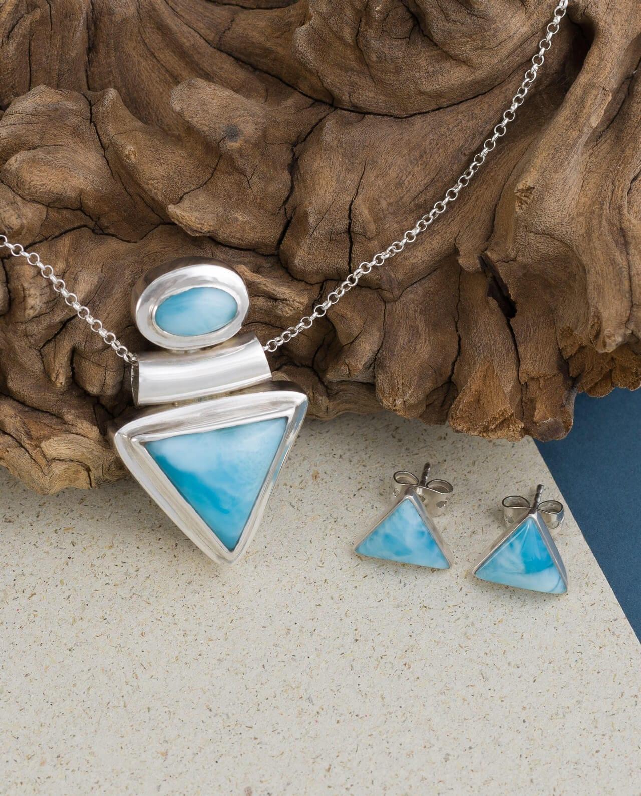 Conlight Dreieck Larimar Set Anhaenger und Ohrringe