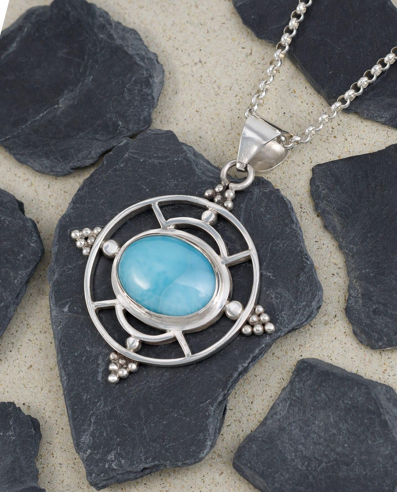 Conlight Larimar Silber Anhaenger Heilige Geometri