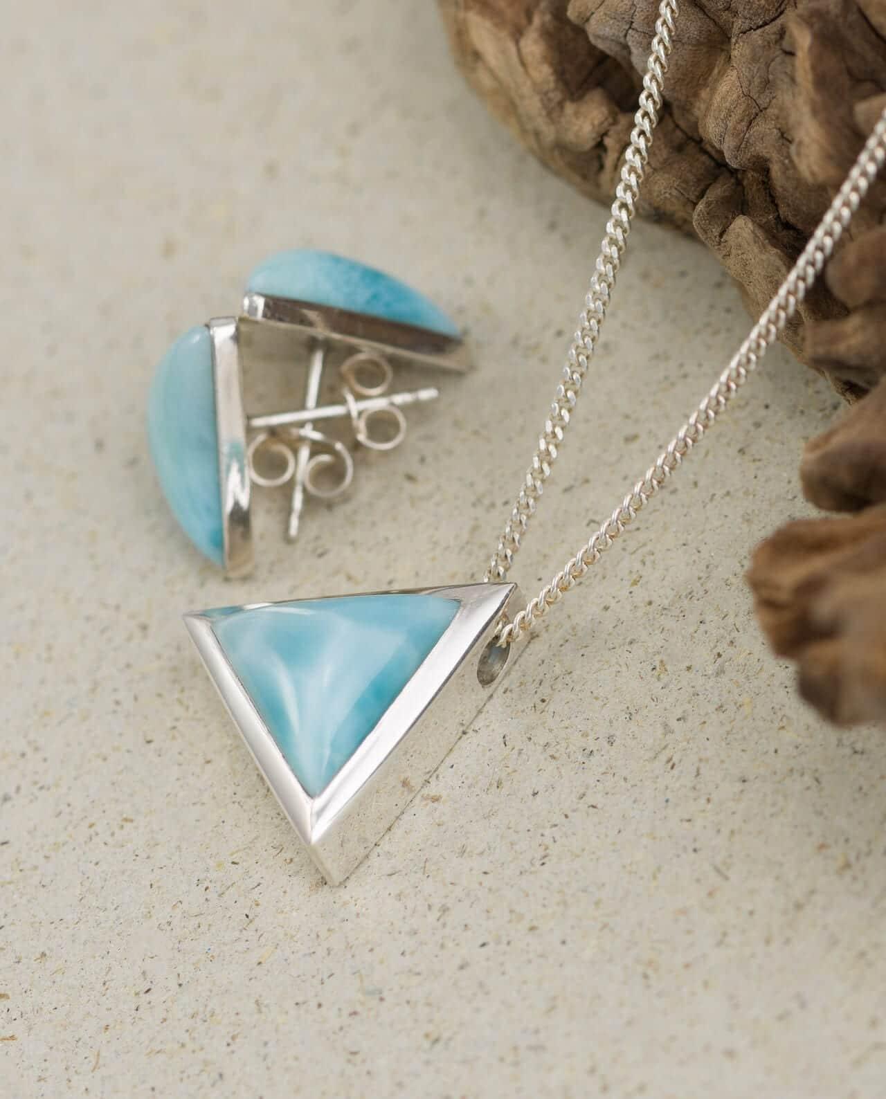 Conlight Larimar Silber Anhaenger Set Dreieck